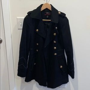 Black Wool Jacket with Gold Buttons | Size: S